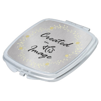 Created in His Image Christian Quote Compact Mirror