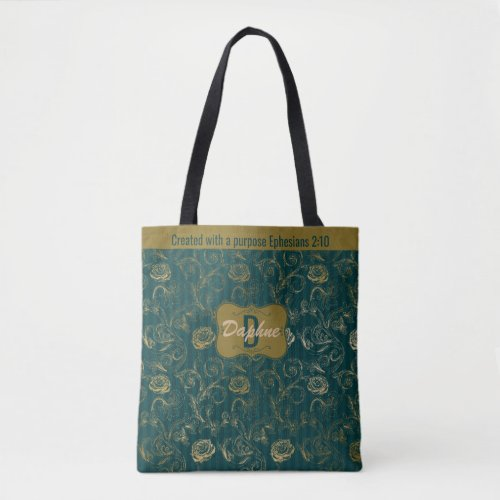 Created With A Purpose Ephesians 210 Floral Tote Bag