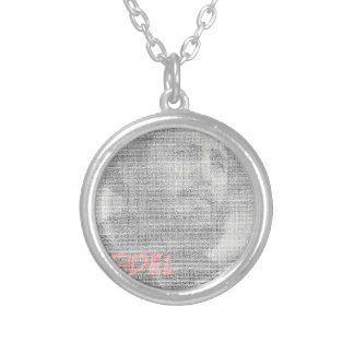 Created with the word Fidel Alejandro Castro Ruz. Silver Plated Necklace