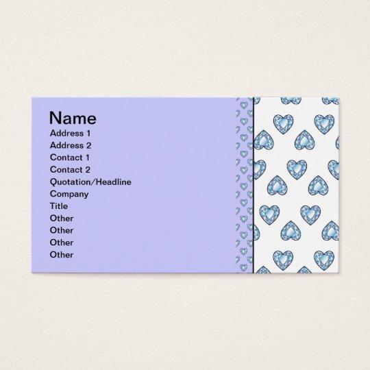 createsk8_diamonds BLUE WHITE HEARTS LOVE DIAMOND Business Card