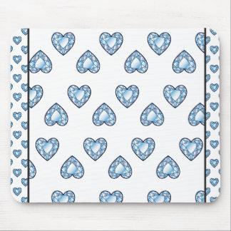 createsk8_diamonds BLUE WHITE HEARTS LOVE DIAMOND Mouse Pad