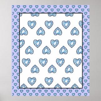 createsk8_diamonds BLUE WHITE HEARTS LOVE DIAMOND Poster