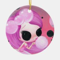 happiness, sugar, fueled, michael, banks, bubbles, cute, creepy, big, eyes, rainbow, fun, Ornament with custom graphic design