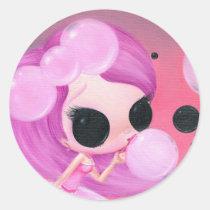 happiness, sugar, fueled, michael, banks, bubbles, cute, creepy, big, eyes, rainbow, fun, Sticker with custom graphic design