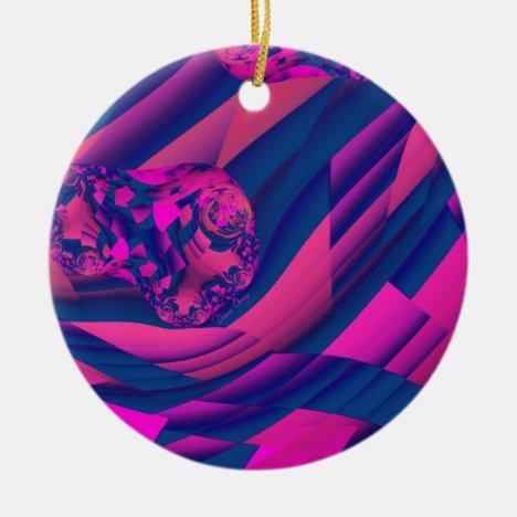 Creating Worlds – Abstract Fractal Magenta Magic Ceramic Ornament