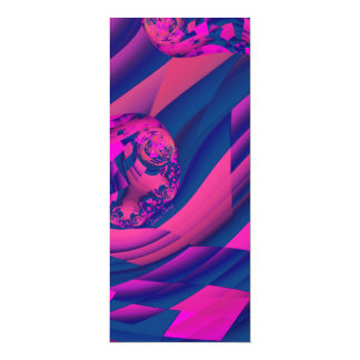 Creating Worlds – Abstract Fractal Magenta Magic 4x9.25 Paper Invitation Card