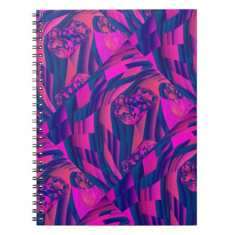 Creating Worlds – Abstract Fractal Magenta Magic Notebook