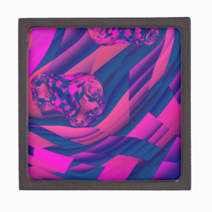 Creating Worlds – Abstract Fractal Magenta Magic Premium Jewelry Boxes
