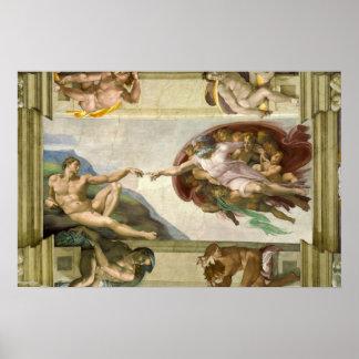 Creation of Adam by Michelangelo, Vintage Fine Art Poster