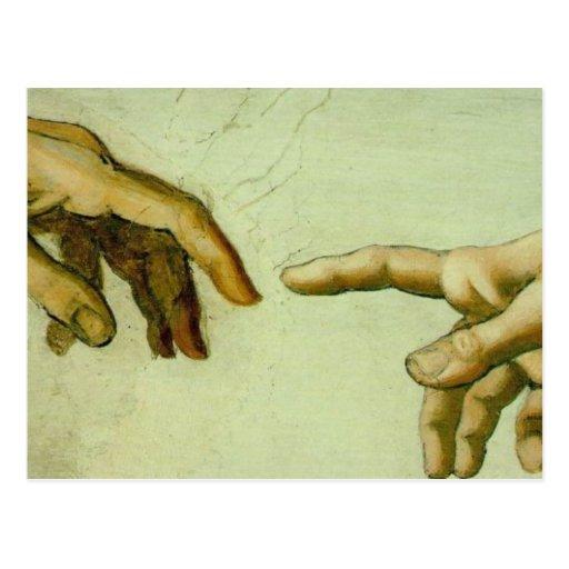 Creation of Adam (detail-hands) Postcard