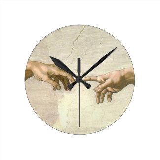 Creation of Adam Hands - Michelangelo Round Clock