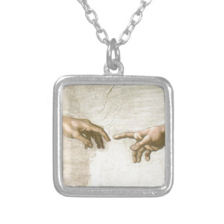 Creation of Adam Hands - Michelangelo Silver Plated Necklace