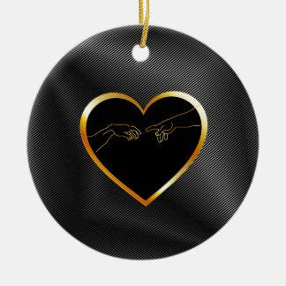 Creation of Adam inside a golden heart Ceramic Ornament
