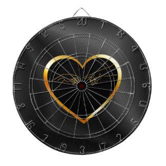 Creation of Adam inside a golden heart Dart Board
