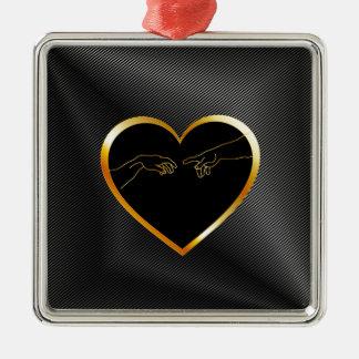 Creation of Adam inside a golden heart Metal Ornament