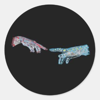 Creation of Cyber-Adam Classic Round Sticker
