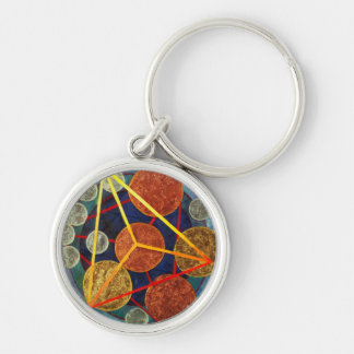 Creation of Universe Silver-Colored Round Keychain