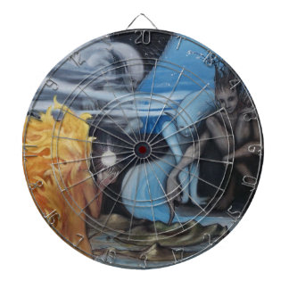 """""""creation"""" original oil painting by Jon Rigby Dartboard With Darts"""