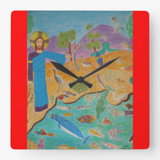 Creation: The Fifth Day Square Wall Clock