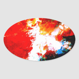 Creative Abstract Artwork Oval Sticker