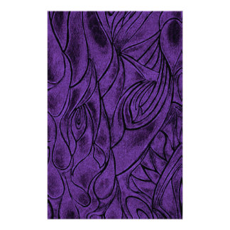 Creative Abstract Design Drawing Purple and Black Stationery