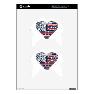 Creative American Flag Heart Xbox 360 Controller Skin