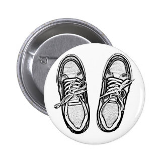 Creative Art shoes sneakers pencil art graphics bl Pinback Button