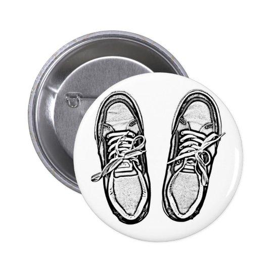 Creative Art shoes sneakers pencil art graphics bl Pinback Button