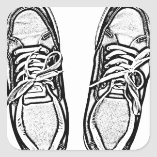 Creative Art shoes sneakers pencil art graphics bl Square Sticker