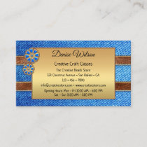 Creative Blue Jeans Gold Business Card