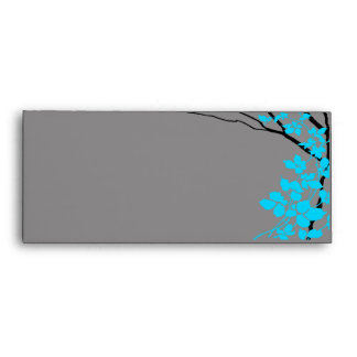 Creative Branches - grey w/blue cherry blossoms Envelopes