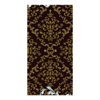 Creative Brown Damask and White floral Card