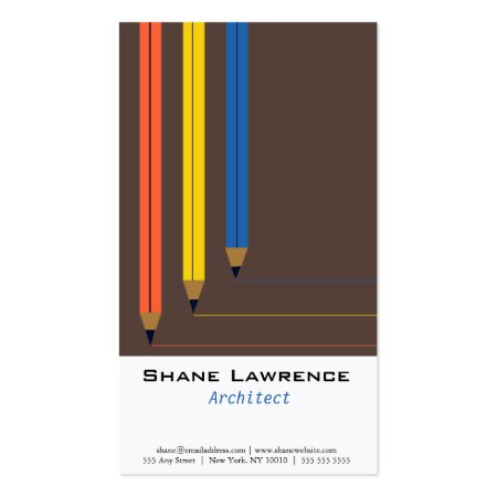 Cool Colorful Pencils Architect Business Cards