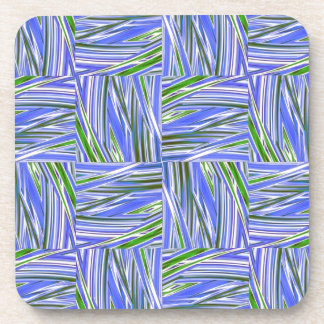 creative checkered blue green beverage coasters