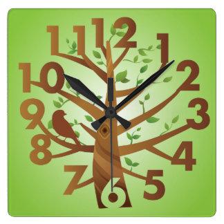Creative Clock Tree  Bird Design Green Brown