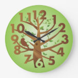 Creative Clock Tree  Bird Design Green Brown
