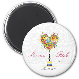 Creative floral save the date wedding magnet