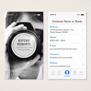 Iphone business cards templates zazzle creative iphone ios style modern photographer business card reheart Choice Image