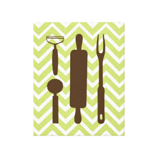 Creative Kitchens - Rolling pin on chevron. Canvas Print