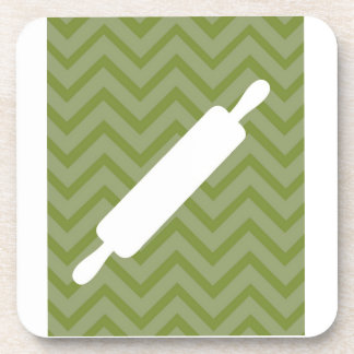 Creative-Kitchens - Rolling pin on chevron Beverage Coaster