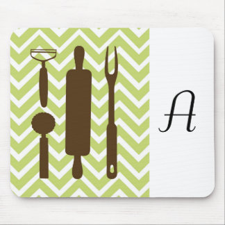 Creative Kitchens - Rolling pin on chevron. Mouse Pad