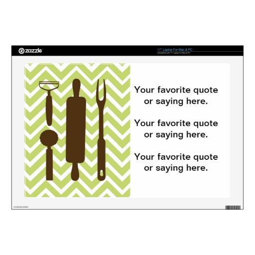 """Creative Kitchens - Rolling pin on chevron. 17"""" Laptop Decals"""