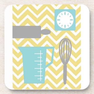 Creative Kitchens - Utensils on chevron Beverage Coasters