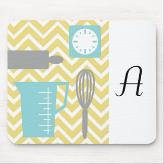 Creative Kitchens - Utensils on chevron Mouse Pad