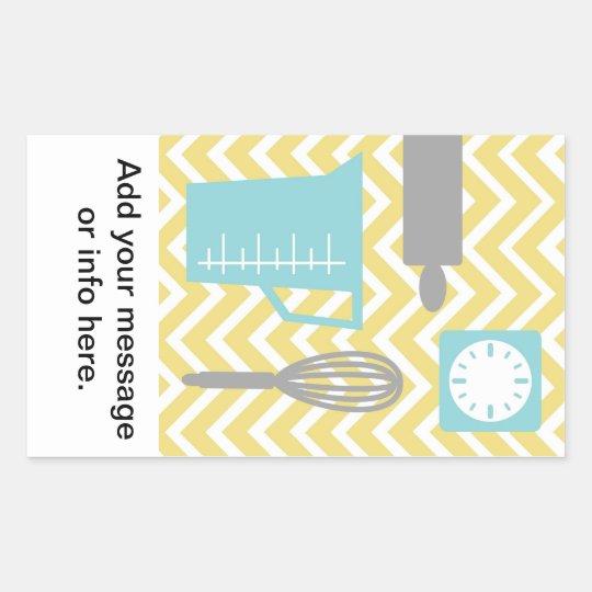 Creative Kitchens - Utensils on chevron Rectangular Sticker