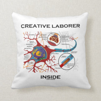 Creative Laborer Inside (Neuron Synapse Biology) Throw Pillow