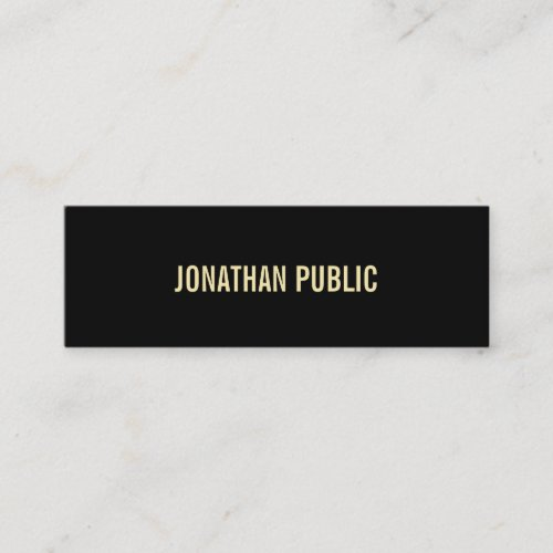 Creative Modern Black Gold Text Elegant Simple Mini Business Card