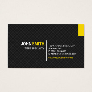 Creative Modern Twill Grid - Black and Yellow Business Card