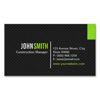 Creative Modern Twill Grid - Classy Black Green Magnetic Business Card