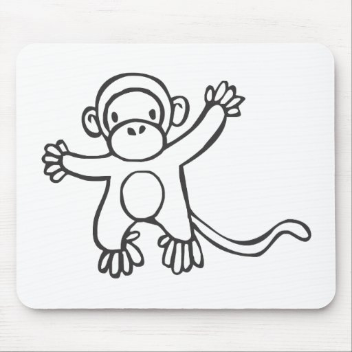 Creative Monkey in Sketch Drawing Mousepad